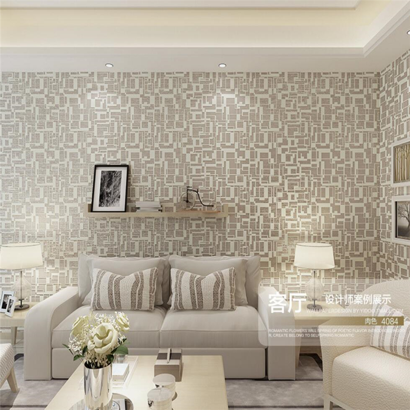 ФОТО Beibehang Contemporary and contracted geometric wall paper High-grade sitting room 3 d TV cream-colored bedroom wallpaper