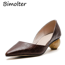 Bimolter Fashion Women Genuine Leather Shoes Woman Sexy Pointed Toe Office Pumps Ladies Wedding Party Size 34-40 NB079