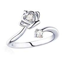 Ring for women imperial crown prong heart zircon resizable opening adjustable size wedding bands high qua plated fashion jewelry