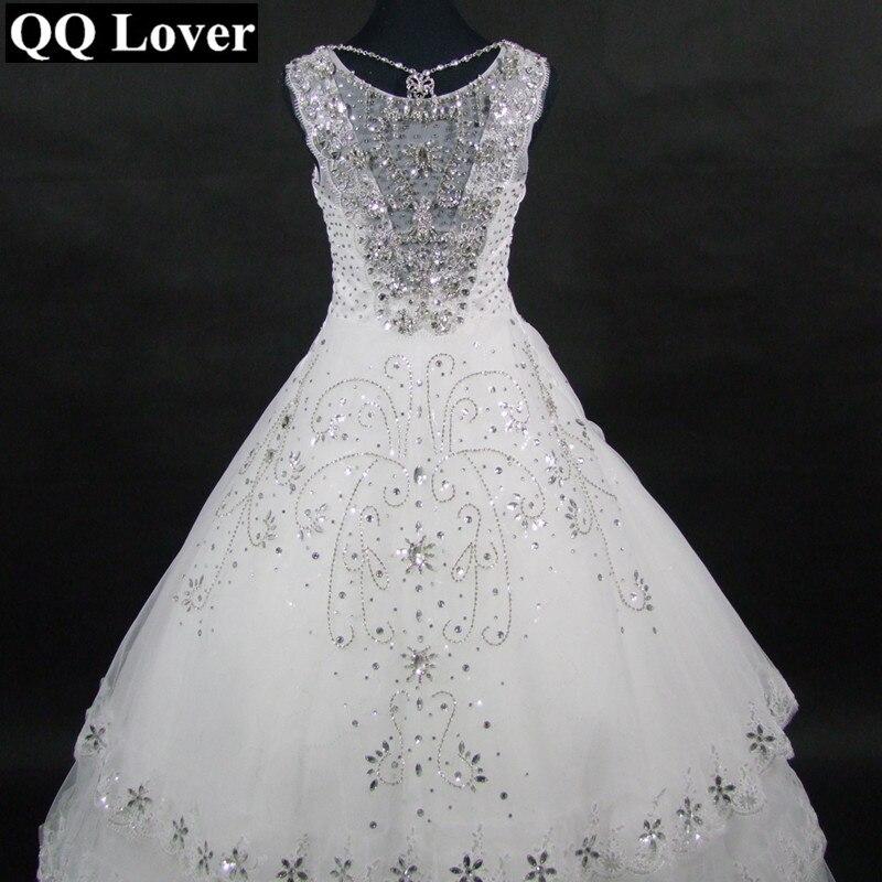 QQ Lover 2019 Super Shining Wedding Dress Custom-made Vestido De Noiva Wedding Gown