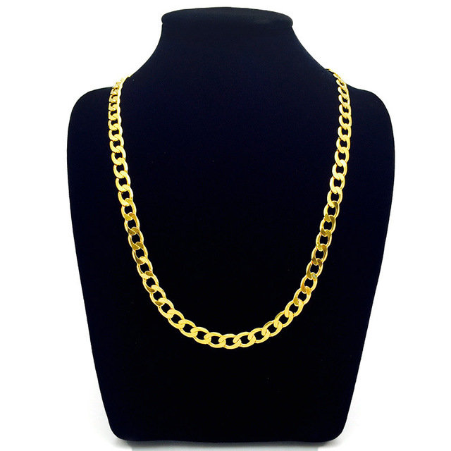 8MM wide 60cm golden cuban chain  solid yellow gold filled men women curb link chain necklace