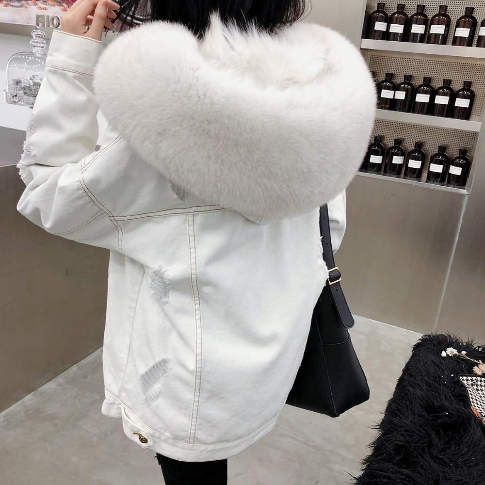 2019 winter jacket coat women Holes white Denim jacket real large fox fur collar hooded rabbit
