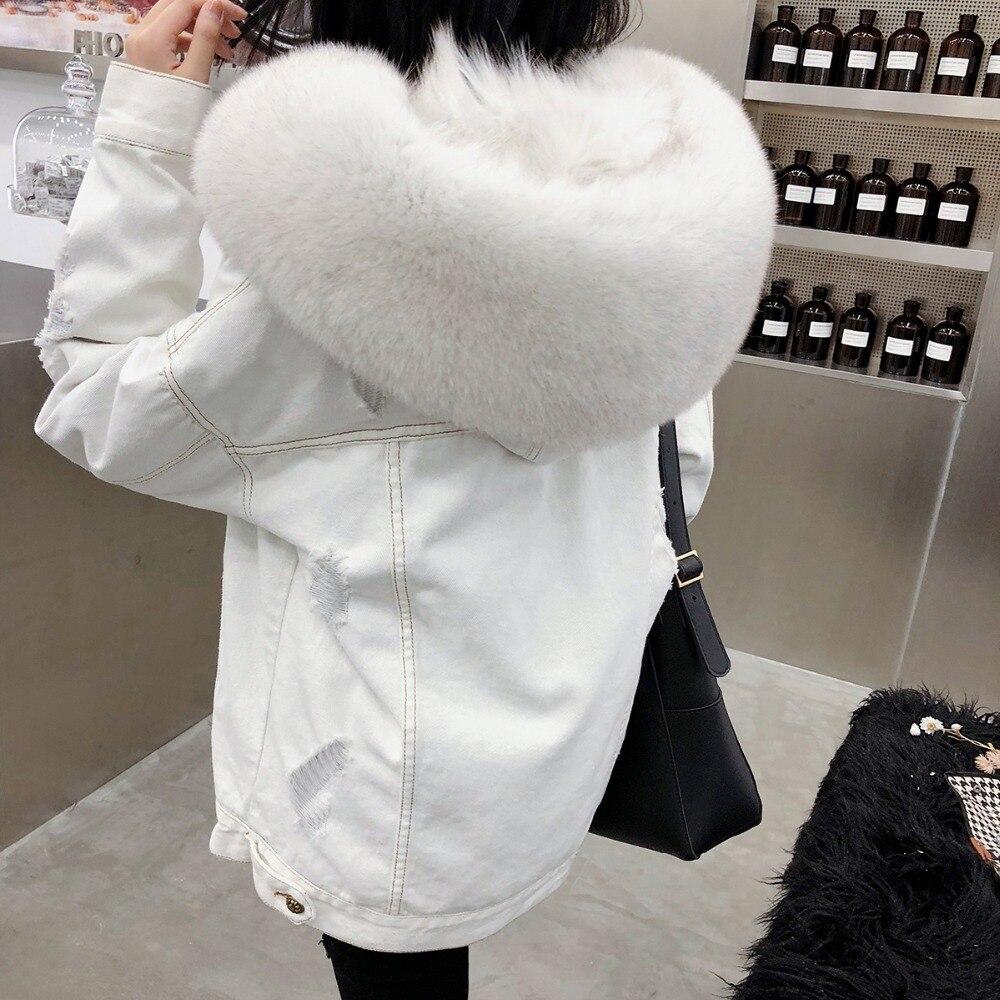 2019 зимняя куртка женская белая джинсовая куртка с дырками настоящий большой Лисий меховой воротник с капюшоном с кроличьим меховым вкладыш