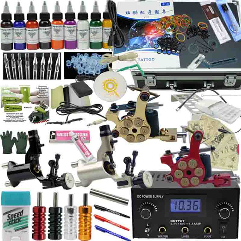 OPHIR PRO 356 pièces Kit De Tatouage Complet 4 Moteur Mitrailleuse 9 Couleurs Encres Pigments Aiguilles D'alimentation Buses Poignée Set_TA008