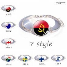 Finland Flag Glass Dome Cabochon Silver Button  Bracelets Angola Australia Canada South Africa Sweden Israel cuff bracelet