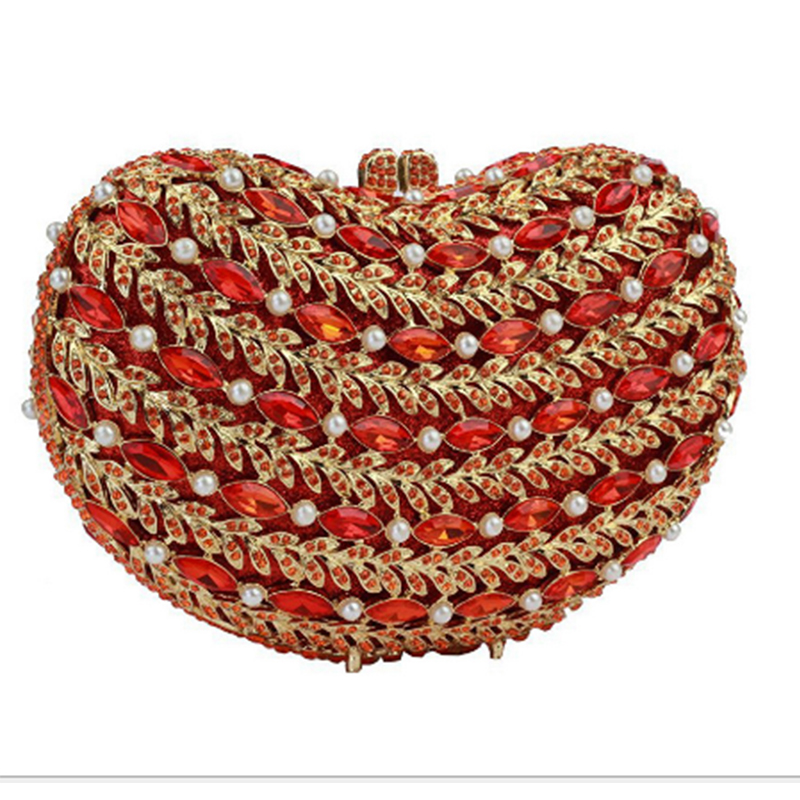все цены на XIYUAN BRAND fashion Women red wedding Evening Handbags bride Party Bridal Beaded Purse Clutch Bag for girlfriend gift bag