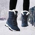 Женские нескользящие ботинки  водонепроницаемые зимние ботинки на платформе с толстым мехом  2019
