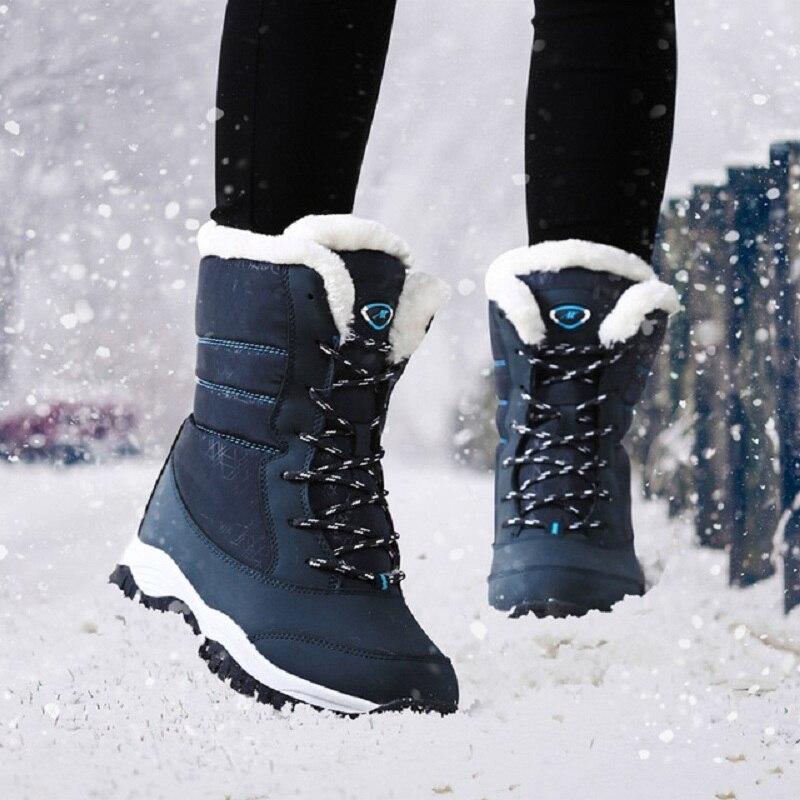 2019 moda feminina botas antiderrapantes à prova dwaterproof água inverno tornozelo botas de neve mulheres plataforma sapatos de inverno com pele grossa botas mujer