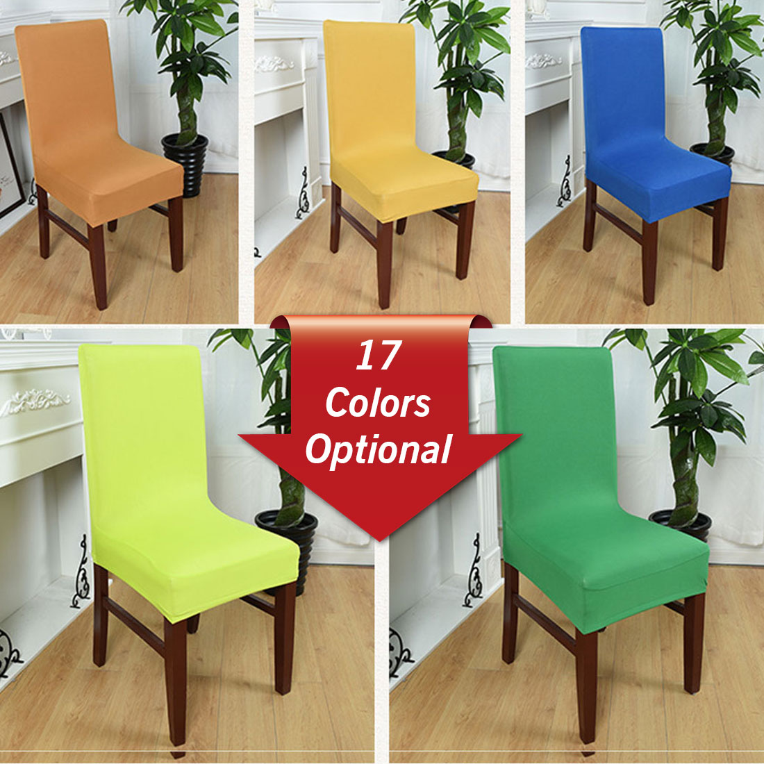 Dining Chair Slipcover Us 3 75 5 Off Spandex Elastic Dining Chair Slipcover Solid Colors Removable Anti Dirty Kitchen Seat Case Stretch Chair Cover For Banquet In Chair