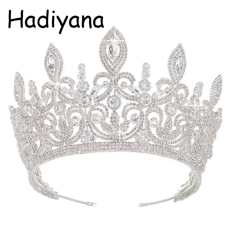 Hadiyana New Luxury Bridal Hair Ornaments Crown Silver Fashion Flower Style Women Tiara Wedding Engagement Jewelry