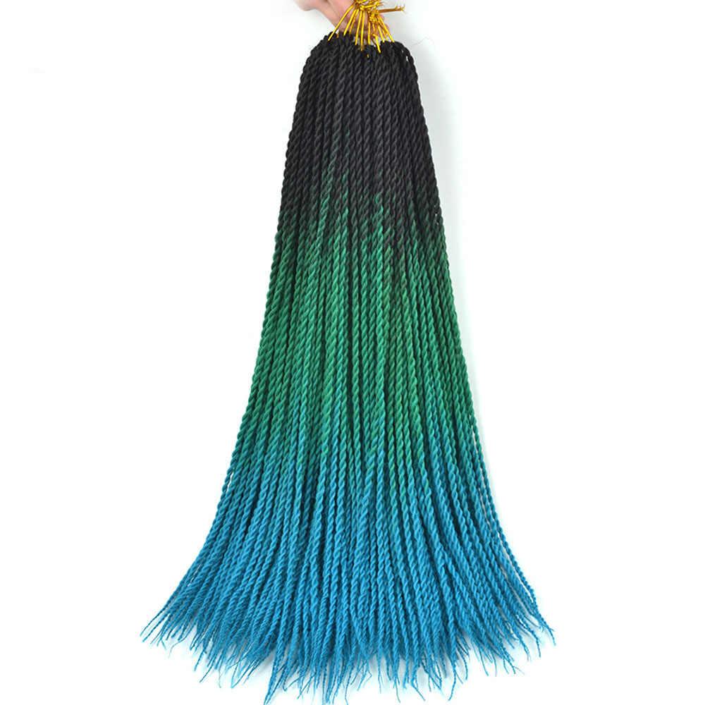 Ombre włosy syntetyczne do warkoczy 24 cali Senegal Twist warkocz warkocze szydełko 3 Tone doczepiane włosy Ombre czarny różowy niebieski czerwony szary