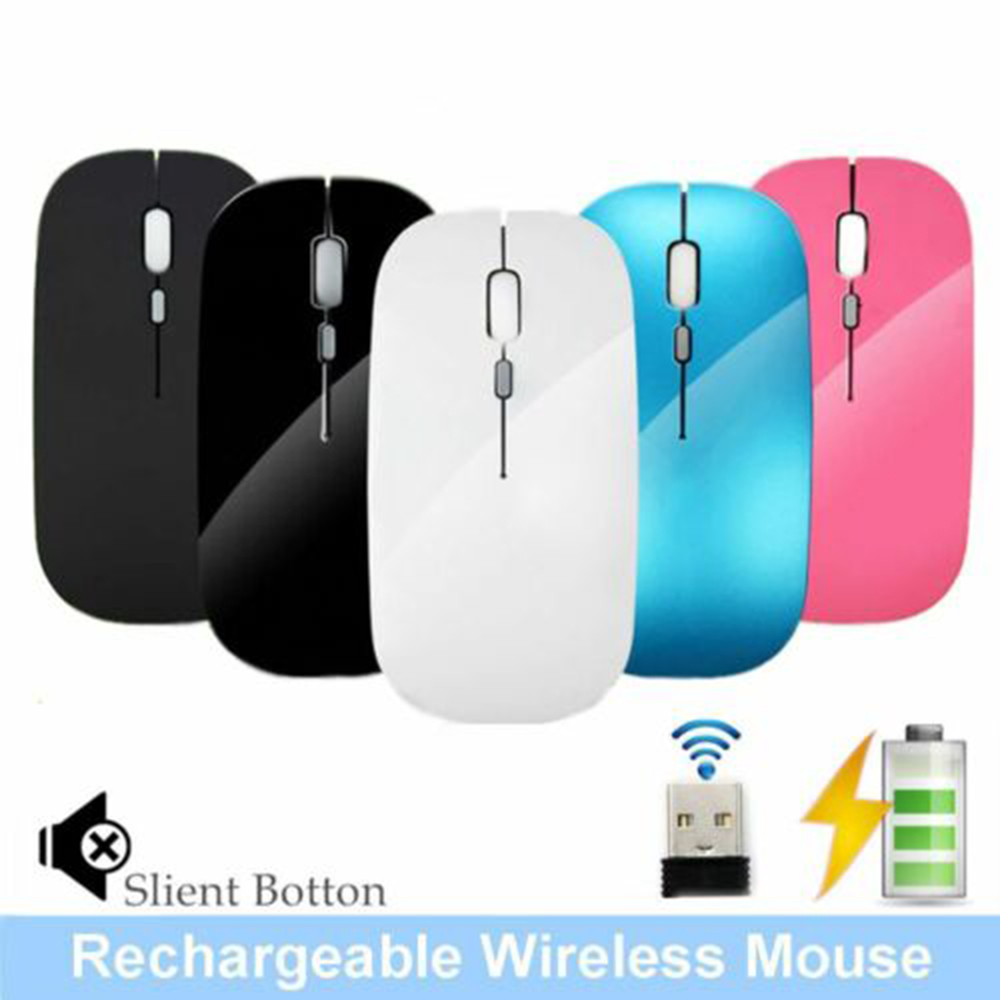 2.4GHz Receiver Rechargeable Lithium-ion Battery Wireless USB Mouse Silent Button Ultra Thin USB Optical Mice 1600 DPI For PC