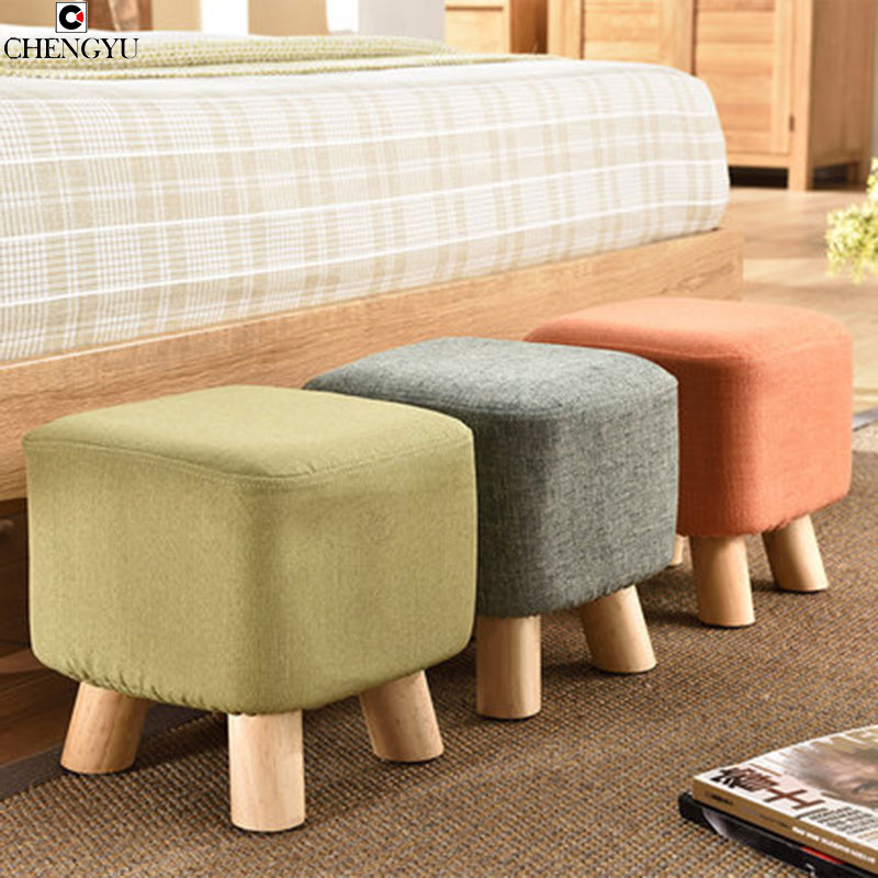 5 STYLES Modern Stool Solid Wood Stool Creative Fashion Wear Shoe Fabric Sofa Stool Bench Home 28*28*28.5cm fashion entrance mushroom stool solid wood household small bench living room fabric sofa stool creative stool home furniture