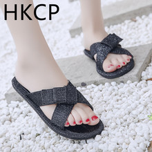 HKCP Fashion 2019 new fork binding ribbon diamond sequins fashion casual comfort Korean version with slippers C070