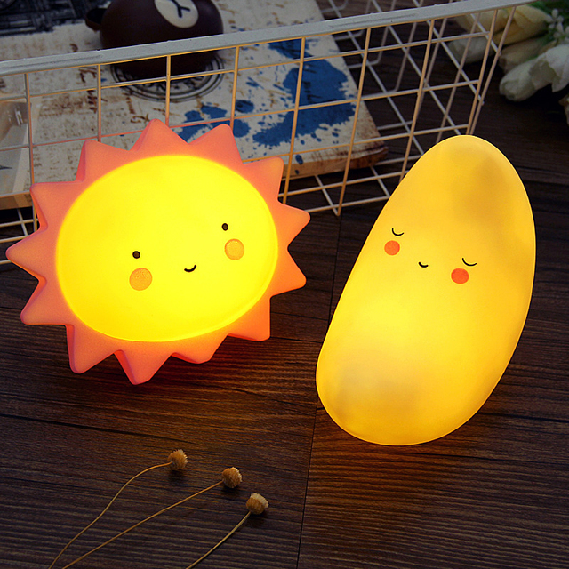 Cute LED Night Light Moon Sun Table Lamp For Baby Child Bedroom Lighting  Home Decoration Christmas