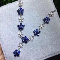 Природный синий сапфир Элегантные цветы Цепочки и ожерелья Природный камень кулон Цепочки и ожерелья 925 Щепка для женщин и девочек подарок