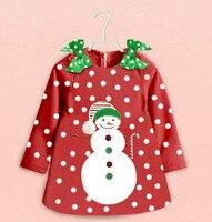 Retail Baby Girls Long Sleeve Christmas Snowman Dot Dress Kids Girl Fashion Santa Claus Party Dresses