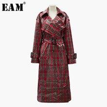 [EAM] 2018 New Autumn Winter Lapel Long Sleeve Red Plaid Split Joint Loose Long Windbreaker Women Jacket Fashion Tide JH938