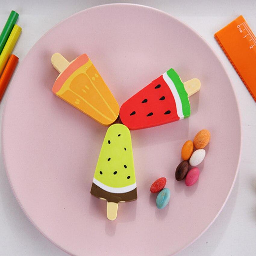 1pcs/lot Kawaii Watermelon Orange Kiwi Fruit Ice Cream Rubber Pencil Eraser Students Stationery School Supplies For Kids