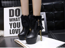 Fashion diamond bow heeled woman sexy high-heeled boots women 2015 autumn and winter rabbit stuffed with fine round zipper shoes