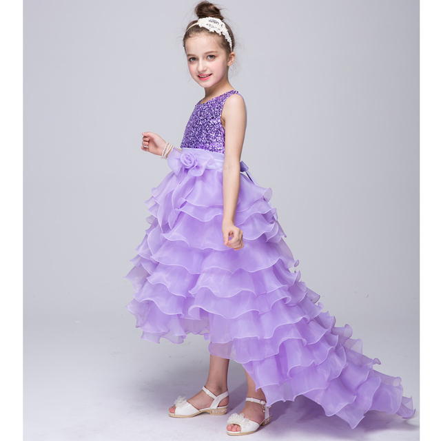 6b528d0ab8da Baby Girl Cake Dress Children Sequined Princess Dress Long Tail Kids ...