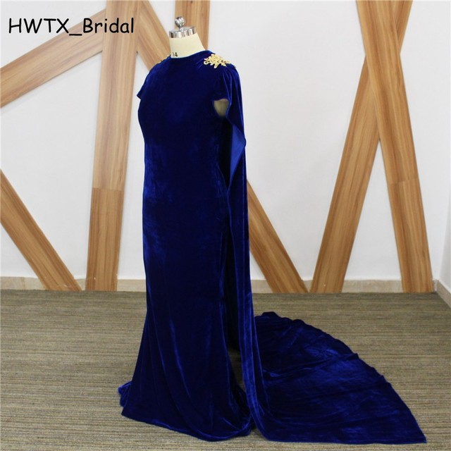 Elegant Royal Blue Velvet Mother Dresses 2018 New Plus Size Gold Lace  Mermaid Long Cloak African Prom Dress Party Formal Gowns 148f92627d1f