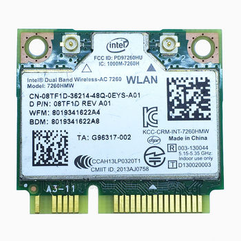 AC7260 Dual Band Wireless-ac 7260 7260HMW +Bluetooth 4.0 867 Mbps IEEE 802.11ac PCIe Half Mini Wifi Card for DELL intel 7260AC