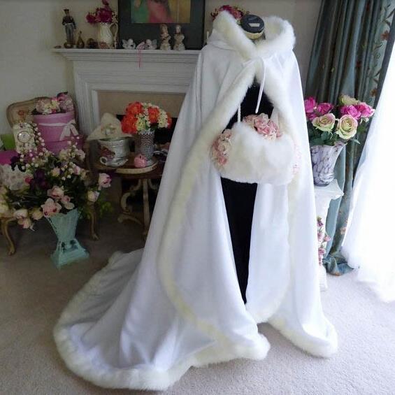 Hooded Bridal Capes Cloaks White Wedding Cloak Winter Wedding Coats ...