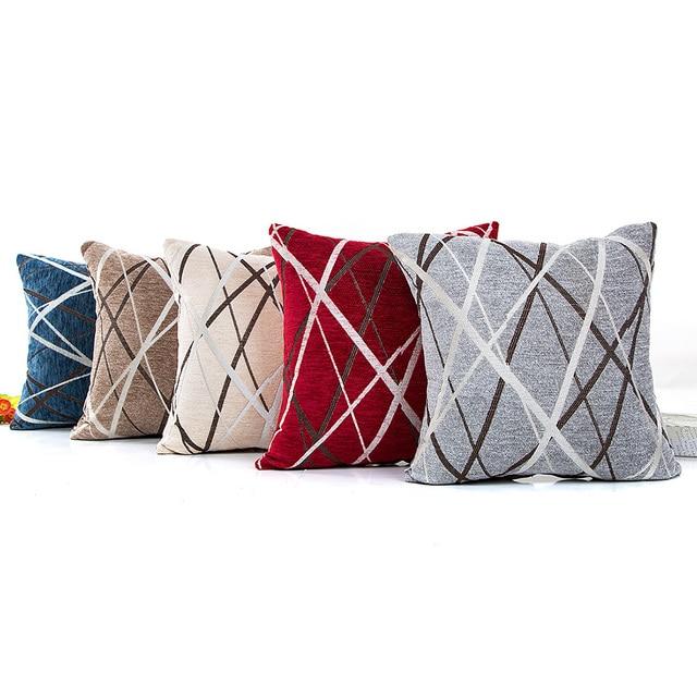 4040CM Chenille Cushion Cover Ray Stripes Printed Modern Plain Gorgeous Plain Decorative Pillows