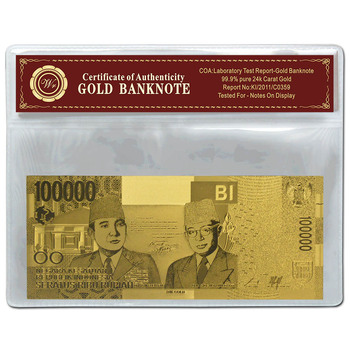 Indonesia Gold Banknote 10000 Rupiah Gold Foil Banknote With Plastic Frame