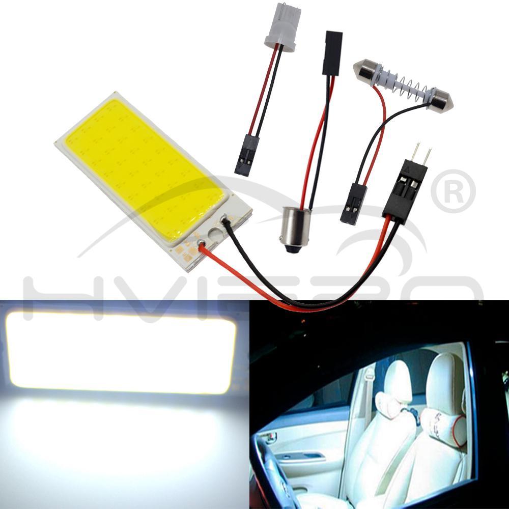 2x T10 White COB 24 SMD LED Car Interior Light Lamp Panel Dome Festoon Adapter