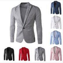 2017 новых Людей прибытия Костюм Пиджак Мужчины Сплошной Цвет Модный Случайный Пиджак Мужской One Button Blazer Костюмы куртки