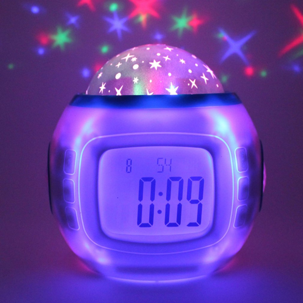 Music Starry Sky LED Projector Light with Digital Clock Calendar Night Light Color Changeable for Home Bedroom Decor White/Red