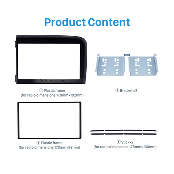Seicane Car Double 2Din Frame Navi Panel Trim Kit for Volvo S80 2001-2006 InDash Kit DVD GPS Decorative Dashboard Install Bezel image