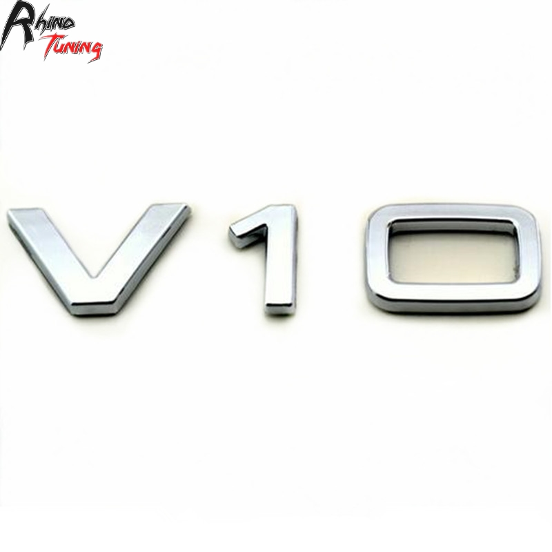 Rhino Tuning V10 ABS Silver Decal Sticker Car Styling Decoration Side Wing Rear Badge For A8 S8 R8 Emblem 20010 3d turbo style grill decoration emblem for car tuning silver
