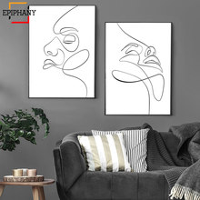 Modern Face Line Abstract Facial Sketch Minimallist Art Figure Drawing Scandinavian Nordic Prints Wall Pictures for Living Room(China)