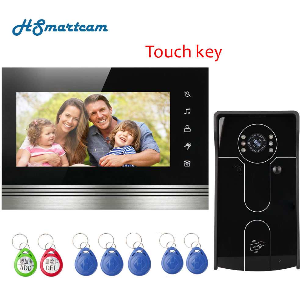 New 7inch Touch key Monitor Video Door Phone Intercom Doorbell Home Security System RFID Code Keypad IR 700TVL Out door Camera yobangsecurity home security video door phone system 7inch video doorbell door intercom rfid access control 1 camera 4 monitor