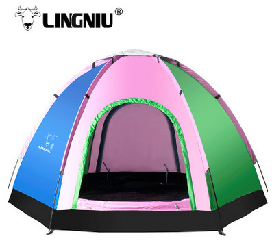 Lingniu 5-8 people Outdoor Camping Tent Anti-uv Single Layer Ultralight Waterproof Tent Couple Family Travel Picnic Outing Tent high quality outdoor 2 person camping tent double layer aluminum rod ultralight tent with snow skirt oneroad windsnow 2 plus