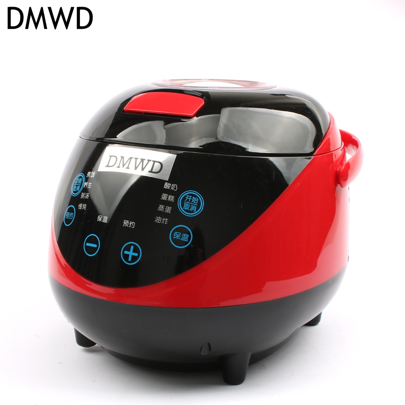 DMWD Mini Multifunction rice cooker for 3-4 people, booking soup porridge Specials 1-2 mini-cookers 450w 220~240V mini multi cookers 1l food grade stainless steel electric hot pot cooker rice boil steamed soup pots perfect for dorm gl zon166
