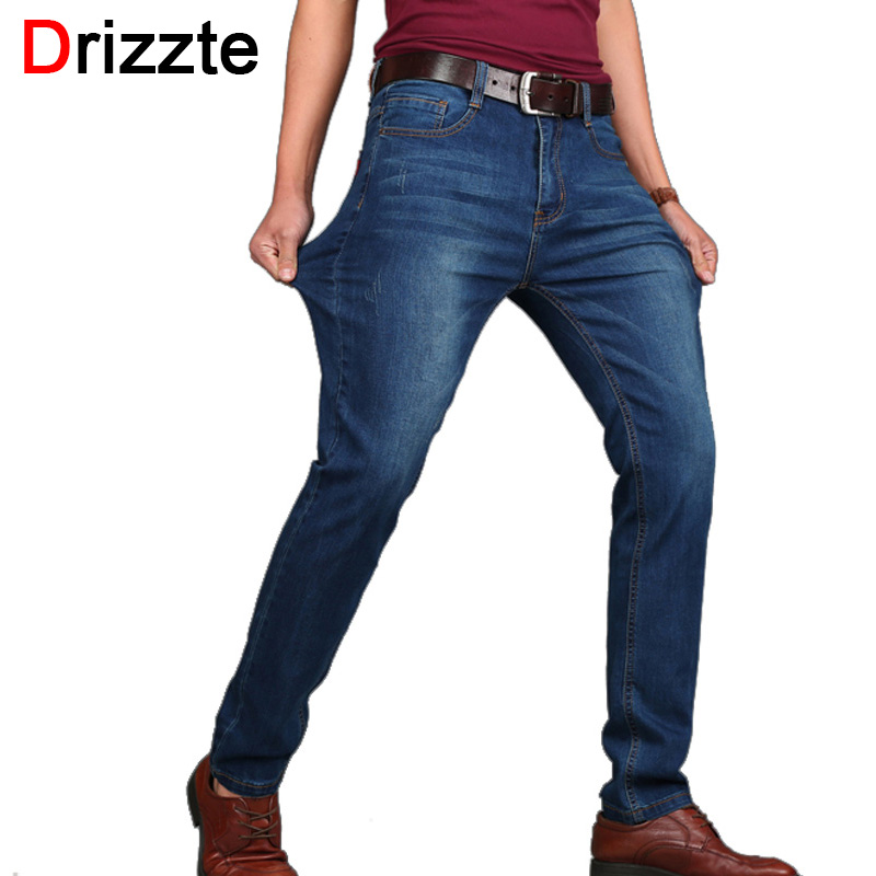 Drizzte Plus Size 28 to 48 Men's Jeans Brand Men Big Large Pants Slim Stretch Mens Pants Blue Denim Men's Jeans Jean sulee brand 2017 mens plus size jeans stretch dark blue denim slim long trouser jean pants big and tall trendy mens clothing