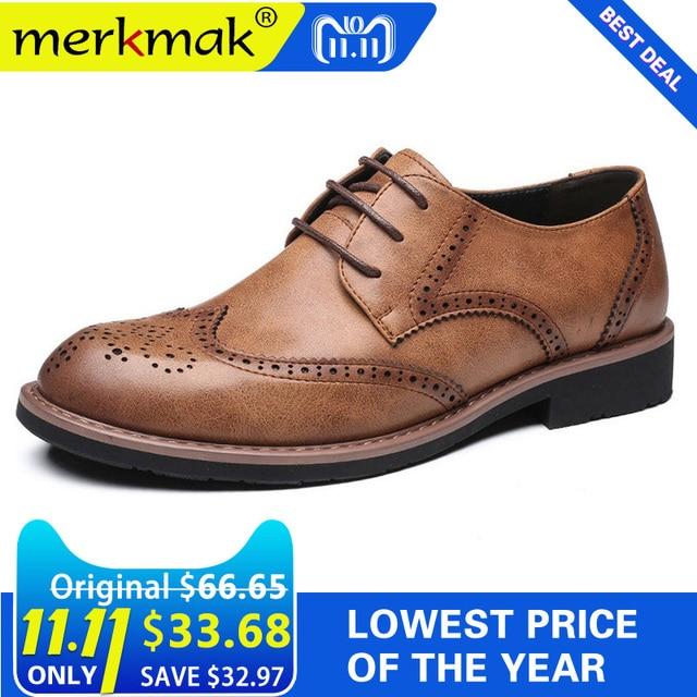 e30f8c7c8 Merkmak 2018 Novos Homens Se Vestem Sapatos de Casamento Genuíno Sapatos De  Couro Retro Brogue Formal