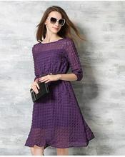 ElaCentelha Brand Women Dress Casual High Quality Solid O Neck A Line Knee Length With Sashes Dress New Women's Dresses