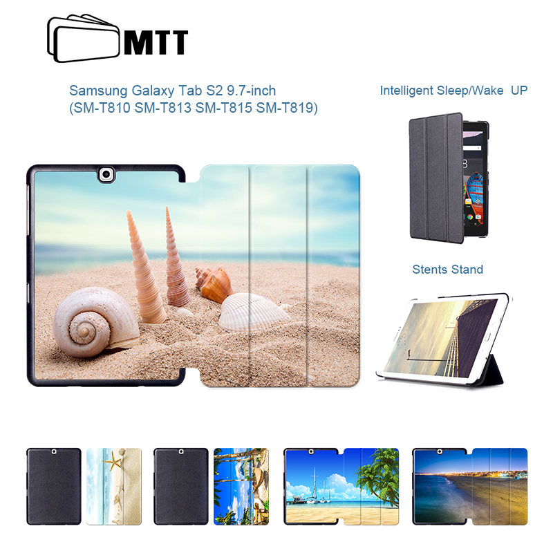 Tab S2 SM-T810 T815 Tablet Bag For Samsung Galaxy Tab S2 9.7'' T810 Fashion Print Beach Conch PU Leather Cover Case Flip Stand luxury pu leather cover case for samsung galaxy tab s2 9 7 t810 t815 sm t810 flip stand for samsung galaxy s2 t815 cases kf469a