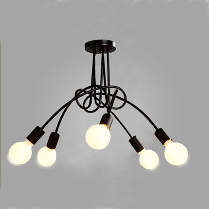 Modern Black Painted Art Deco Pendant Lights Iron Retro Painted Light E27 LED 220V Lamp For Bedroom Kitchen Restaurant Parlor
