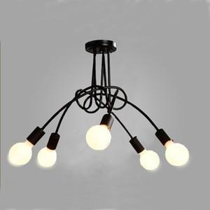 Image 1 - Modern black painted art deco pendant lights iron retro painted light E27 LED 220V lamp for bedroom kitchen restaurant parlor