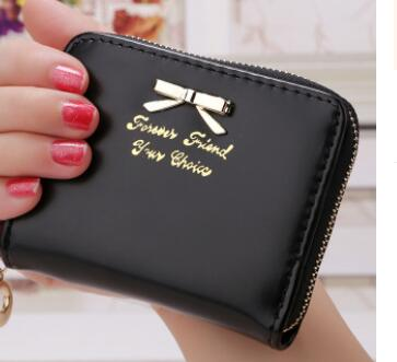 1pcs/lot free shipping Women Lady Mini Faux Leather Bowknot Coin Purse zipper Wallet Card Holders Women' Female wallet