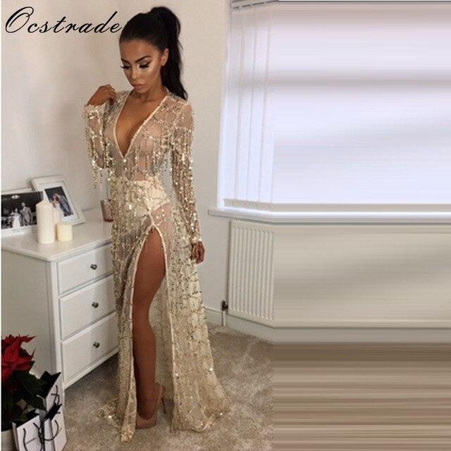 93ebd23af4 Ocstrade Gold Party Sequins Mesh Dresses 2017 Long Sleeve Deep V Neck  Fringe Flapper Dress Long Split Mesh Dress Wholesale HL