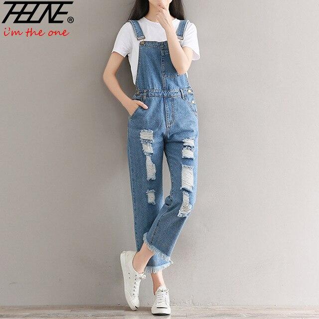 4c3b04667340 THHONE Ripped Jeans Romper Jumpsuit Holes Fashion Torn Denim Pants Trousers  Tassel Catsuit Playsuit Denim Bodysuit Suspender