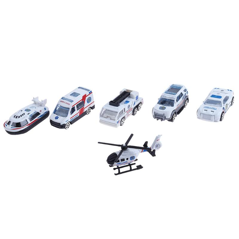 6pcs/Lot Mixed Alloy Ambulance Vehicle Car Model Toys Set For Children Chrismas Gift Model High Simulated Model Baby Kids Toy