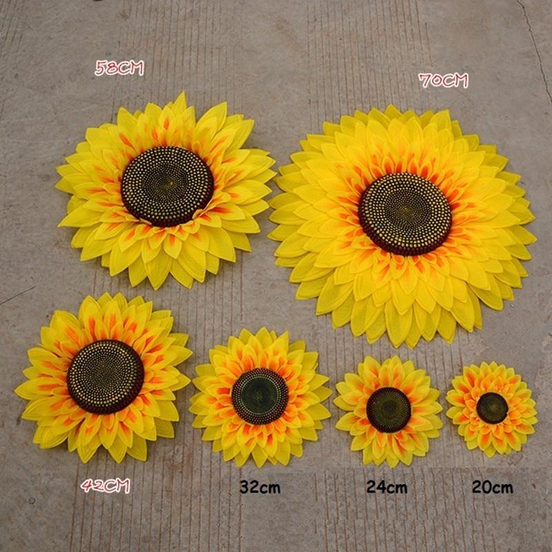 Stor størrelse kunstig silke solsikke gul polyester blomst til Home - Fest utstyr - Bilde 6